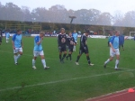 The teams troop off at half time