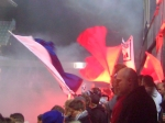 The Lyngby fans welcome the team