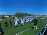 The teams come out to a fanfare